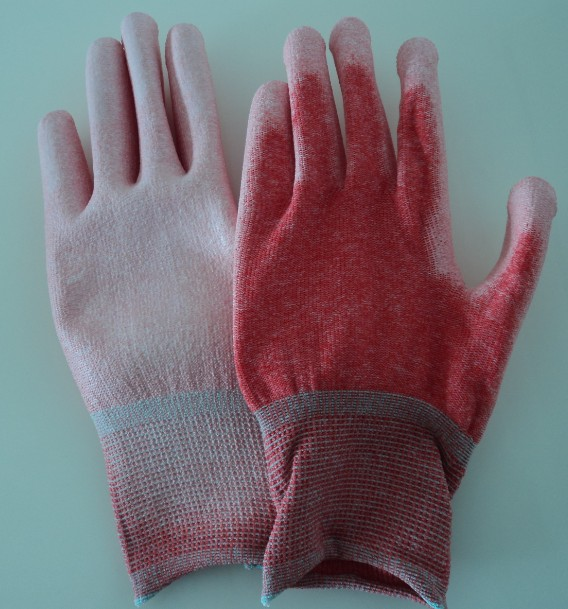 ESD RED PALM FIT GLOVES POLYESTER/NYLON